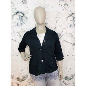 Reitmans Crop Sleeves Button Up Blazer Black